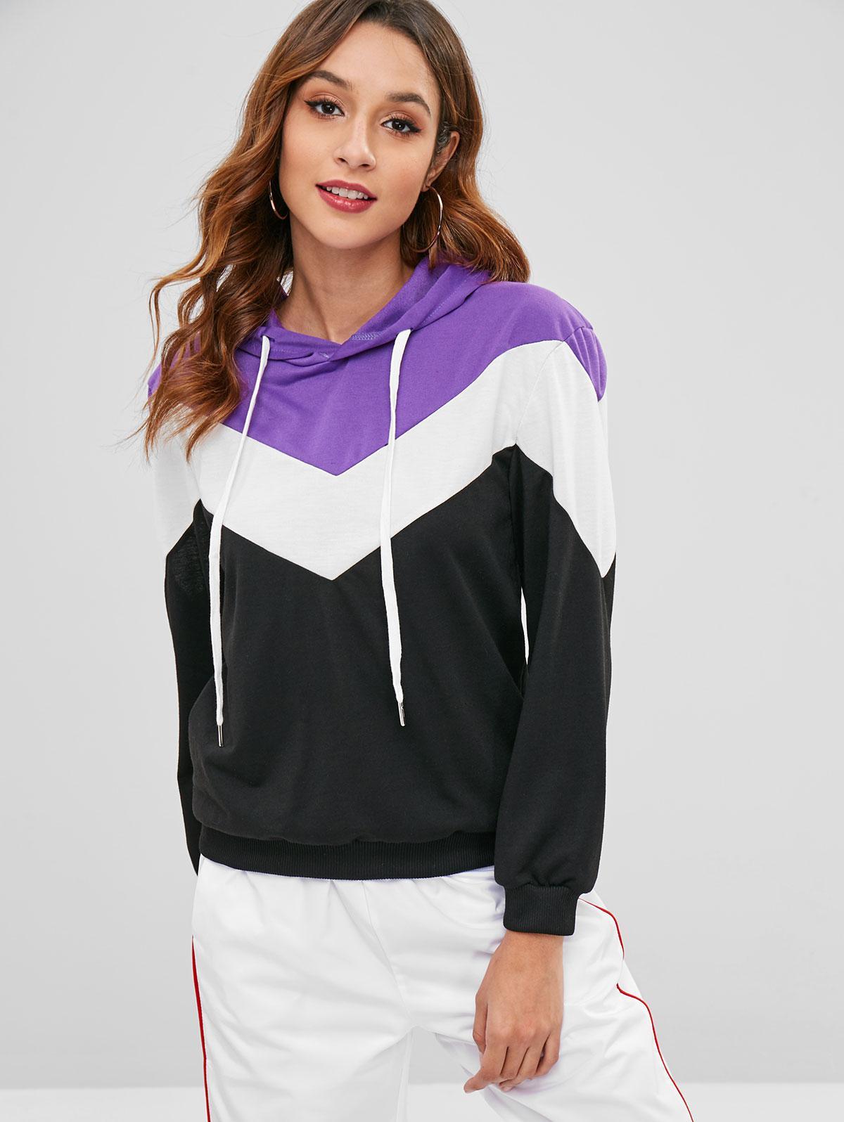 Hit Color V-shaped Stripe Hoodie