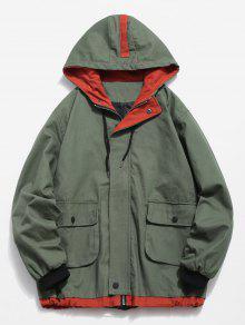 على النقيض من جيوب سترة عادية - التمويه الأخضر 3xl