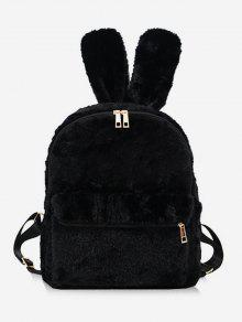 فو الفراء أرنب شكل الظهر على ظهره - أسود
