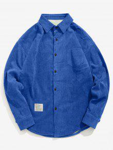 قميص مبطنة بالقطن - أزرق M