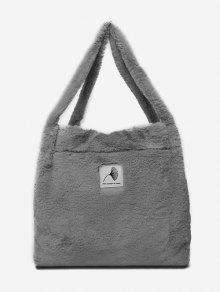اصطناعية فروي الزخارف نمط حقائب الكتف - اللون الرمادي