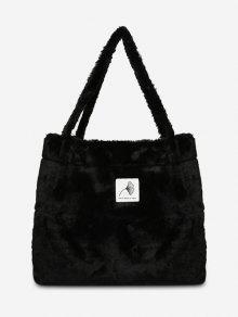 اصطناعية فروي الزخارف نمط حقائب الكتف - أسود