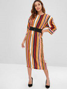 فستان بحزام مخطط - متعدد L