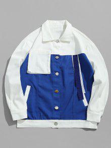لون كتلة جيب الدنيم سترة - أزرق L