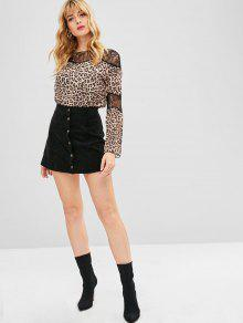 9ee69250553bc5 29% OFF  2019 Lace Insert Leopard Print Top In LEOPARD