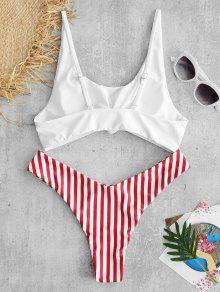 7609f8ebd0350 25% OFF  2019 ZAFUL Contrast Striped Knot Bikini Set In RED