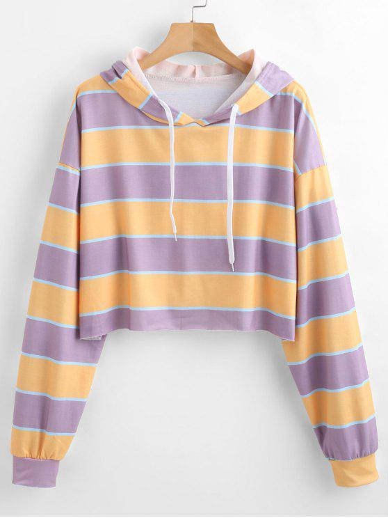 trendy Striped Oversized Hoodie - LILAC XL
