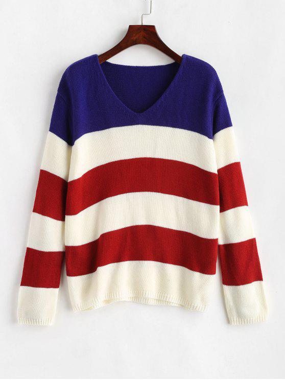 shop ZAFUL V Neck Striped Tricolor Sweater - MULTI L