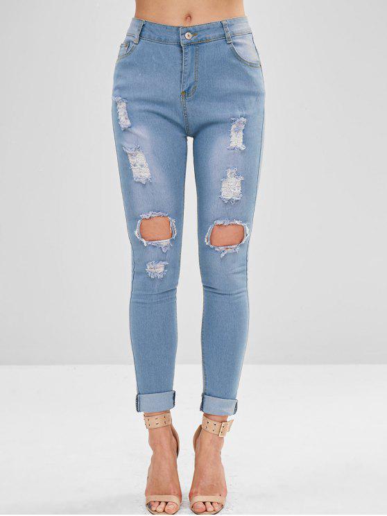 buy Pocket Skinny Ripped Jeans - DENIM BLUE M