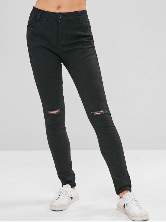 womens Mid Waist Skinny Ripped Jeans - BLACK L