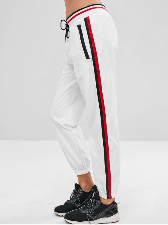 e494c5170c 23% OFF] 2019 Side Stripe Joggers Track Pants In WHITE | ZAFUL