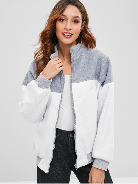 fashion Zip Up Color Block Fleece Jacket - MULTI ONE SIZE