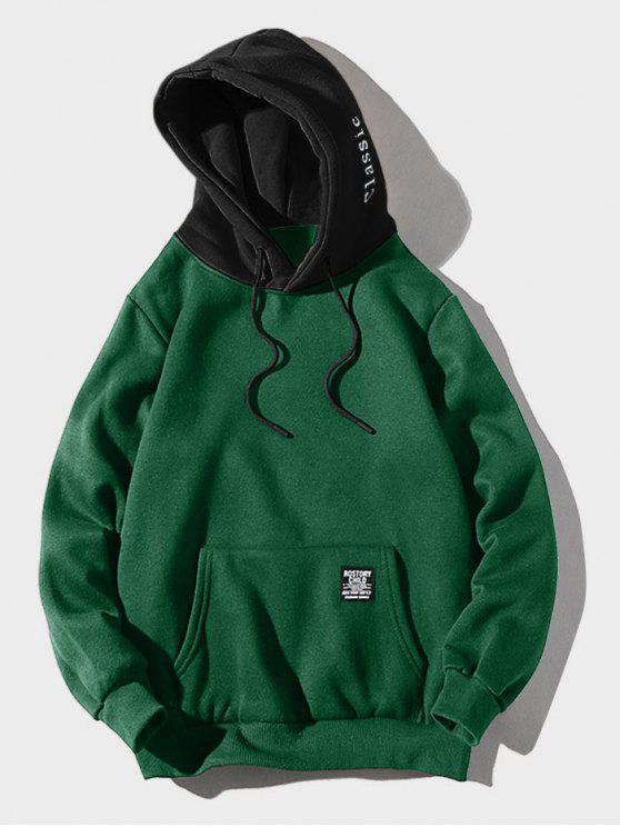 لون كتلة رسالة التصحيح التفاصيل الحقيبة جيب هوديي الصوف - متوسطة البحر الخضراء XL