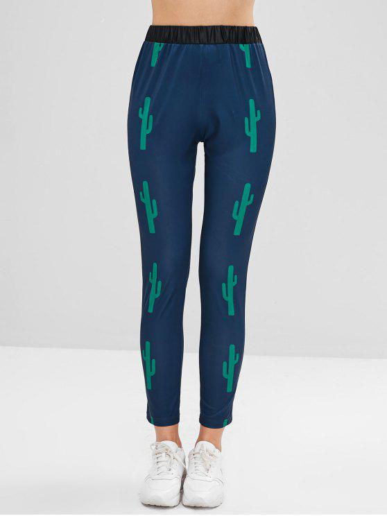 unique ZAFUL Cacti Print High Waist Leggings - PEACOCK BLUE S