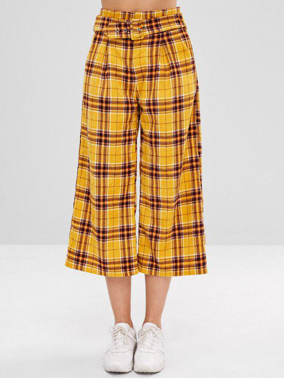 trendy ZAFUL Plaid Corduroy Pants with Belt - BRIGHT YELLOW L