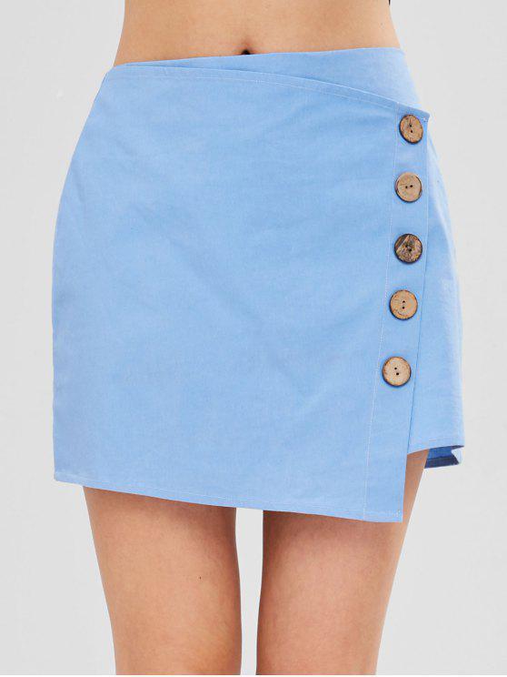 lady ZAFUL Buttons Embellished Asymmetric Skirt - LIGHT BLUE M