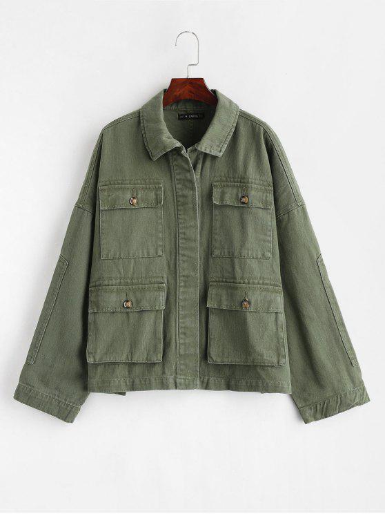 unique ZAFUL Drop Shoulder Pocket Denim Jacket - ARMY GREEN M