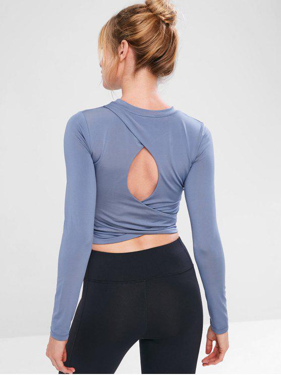women Cutout Long Sleeve Crop T-shirt - BLUE GRAY S