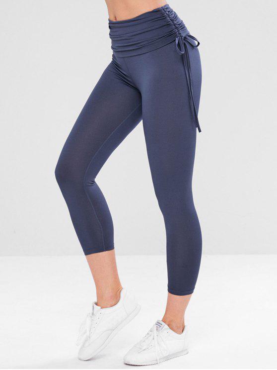 3aa1f2f9a2b65e 19% OFF] 2019 Foldover Gym Yoga Leggings In DARK SLATE BLUE | ZAFUL