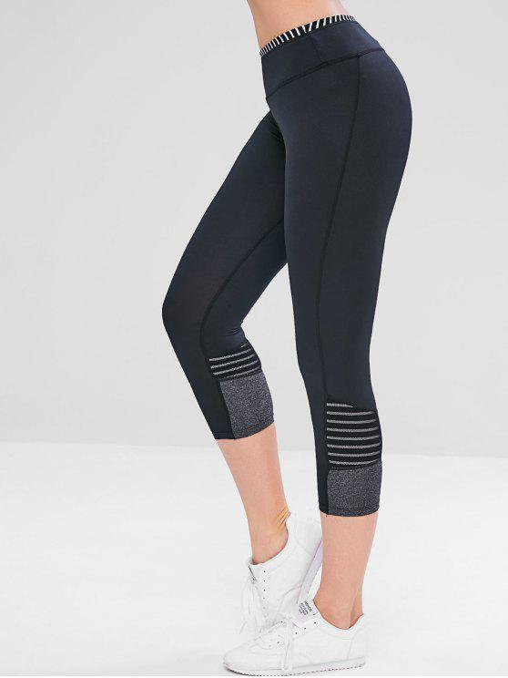 sale Striped Mesh Insert Crop Workout Leggings - BLACK L