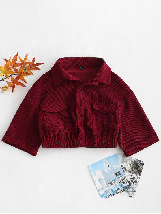 unique ZAFUL Cuffed Sleeves Crop Corduroy Shirt - RED WINE XL