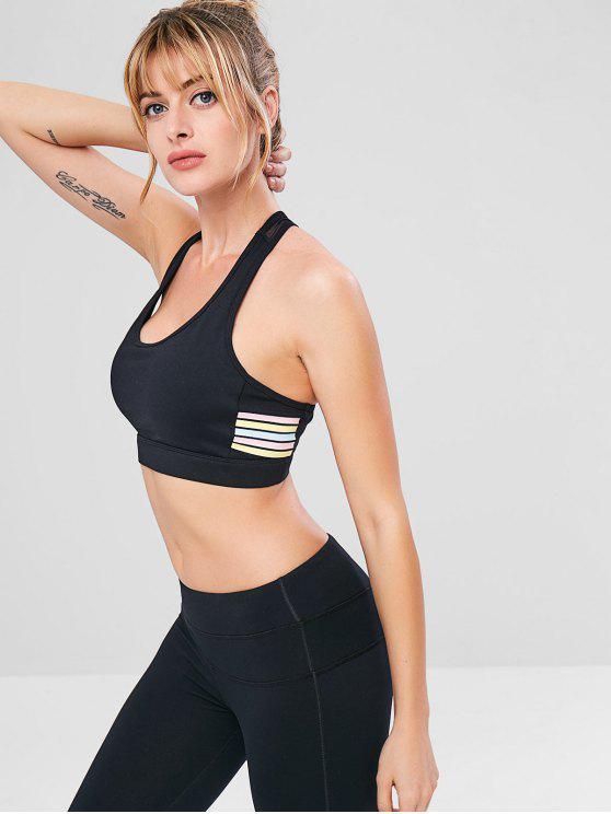 ladies Striped Mesh Insert Cutout Bra - BLACK M