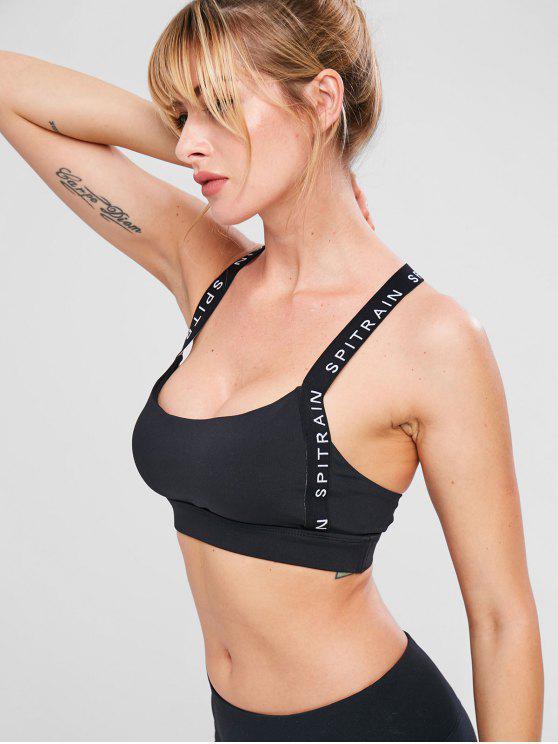 hot Letter Y Line Workout Bra - BLACK M