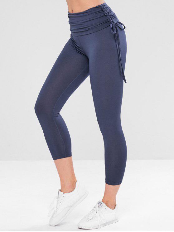 latest Foldover Gym Yoga Leggings - DARK SLATE BLUE M