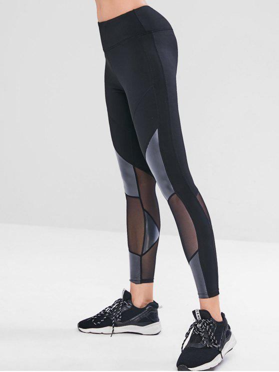 chic Mesh PU Insert Skinny Gym Leggings - BLACK L