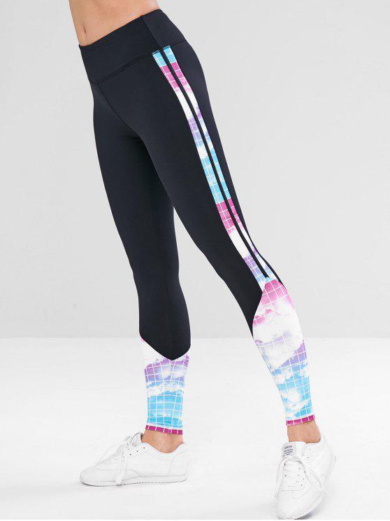 outfit Plaid Sky Print Hidden Pocket Leggings - BLACK L