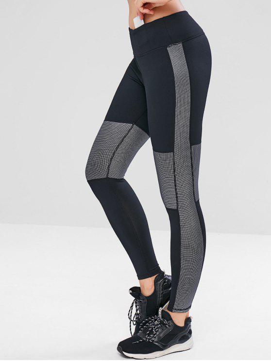 trendy Graphic Hidden Pocket Workout Leggings - BLACK M