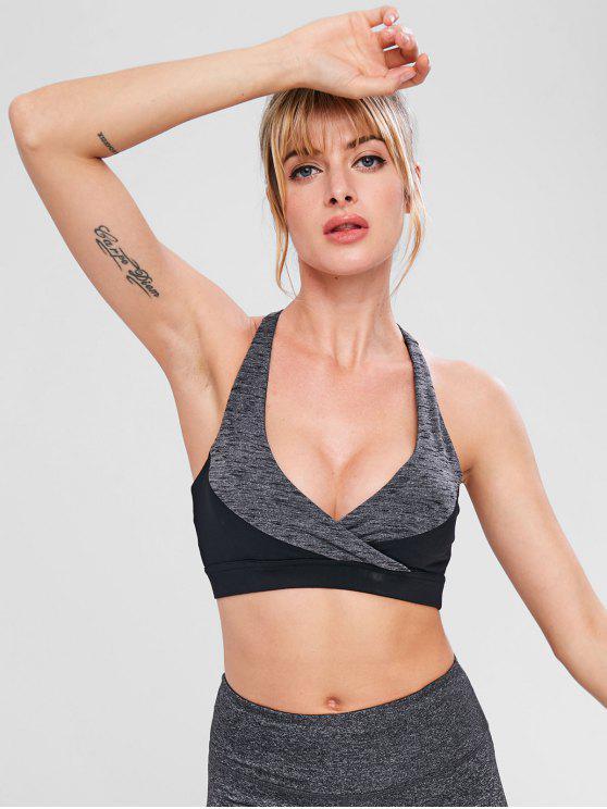 fashion Heather Criss Cross Workout Bra - DARK GRAY L