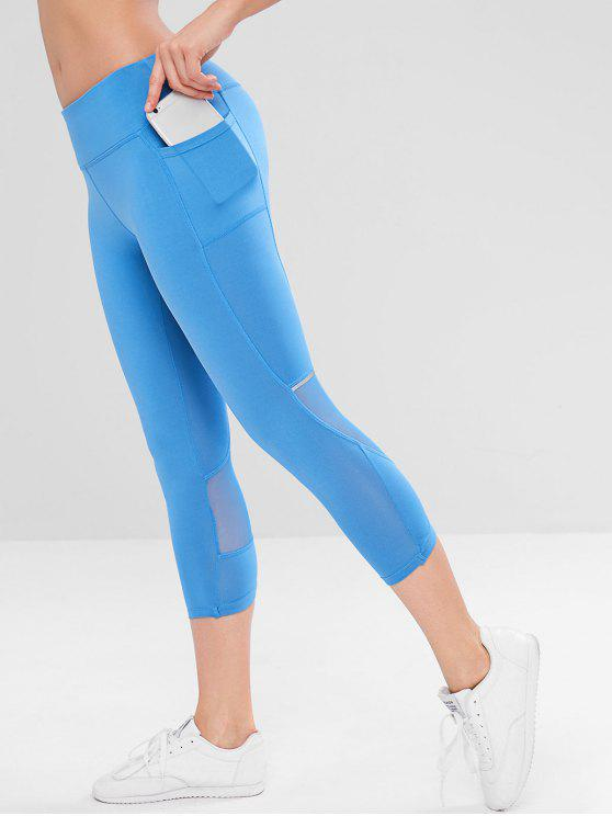 affordable Mesh Insert Side Pocket Workout Leggings - BLUE S