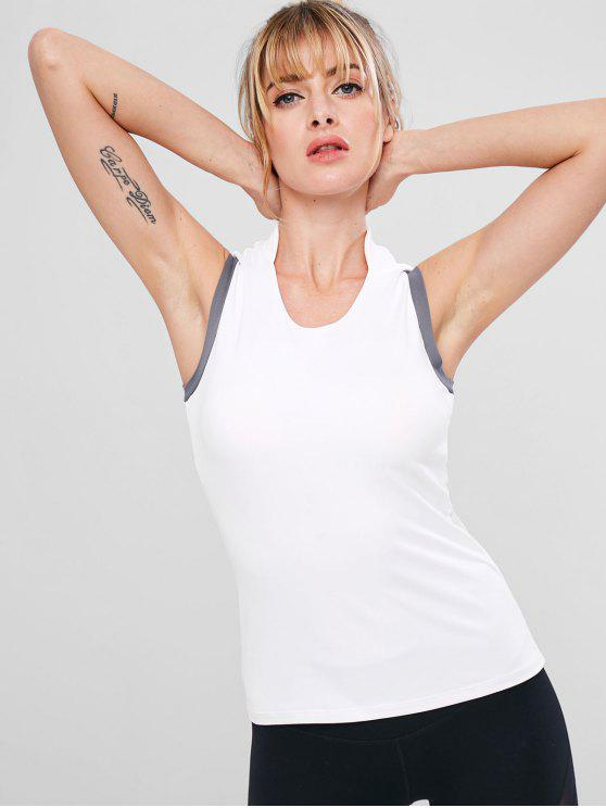 women's Built In Bra Color Block Tank Top - WHITE S