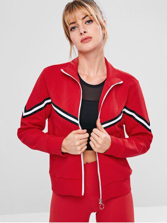 outfit ZAFUL Striped Zipper Pocket Jacket - RED M