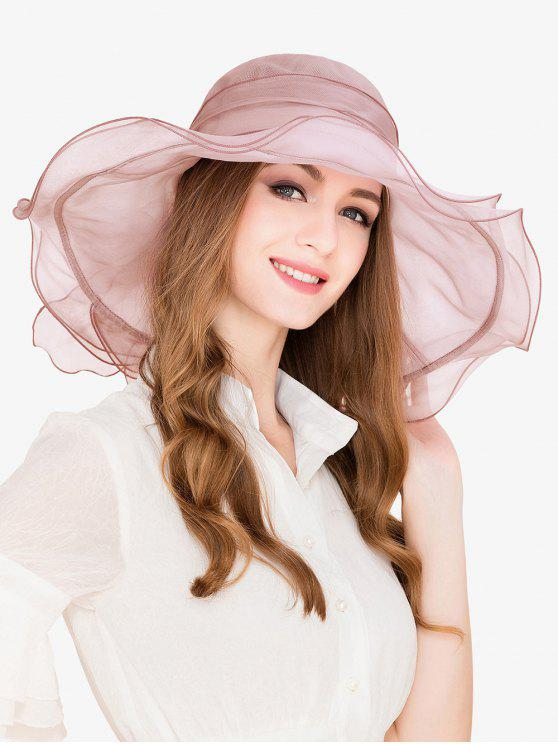 womens Elegant Solid Color Beach Travel Hat - PINK