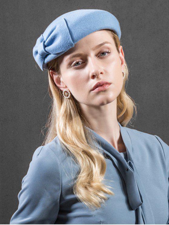women's Elegant Solid Color Bowknot Pillbox Hat - LIGHT BLUE