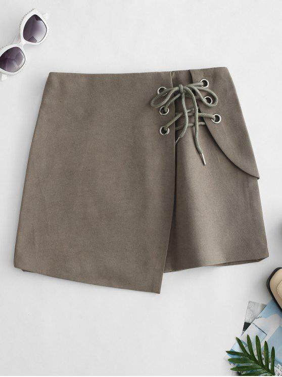online Lace Up Overlap Mini Skirt - ARMY BROWN XS