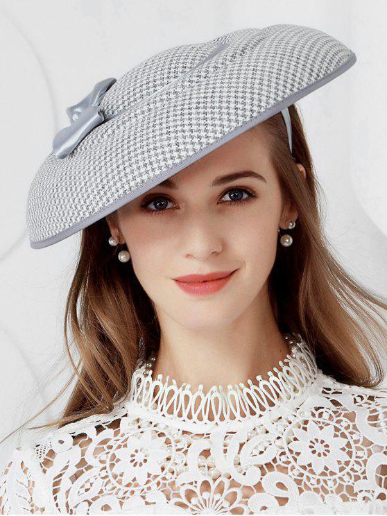 fashion Elegant Houndstooth Bowknot Banquet Hat - LIGHT GRAY