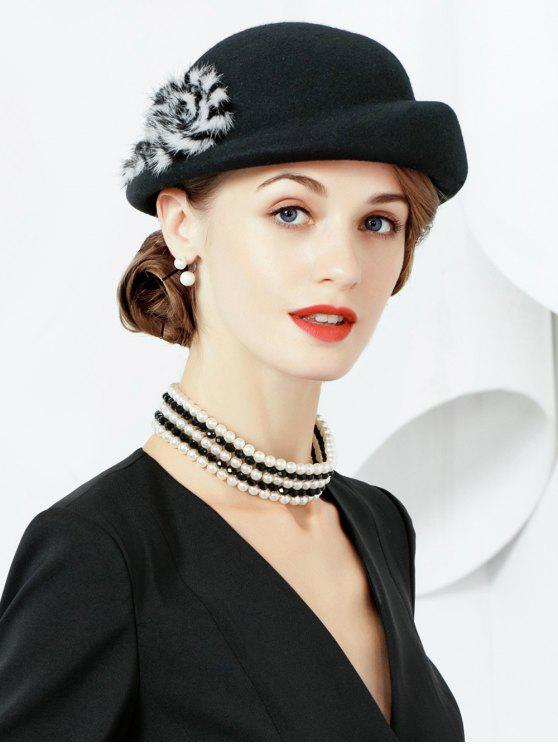 outfit Solid Color Fuzzy Elegant Hat - BLACK