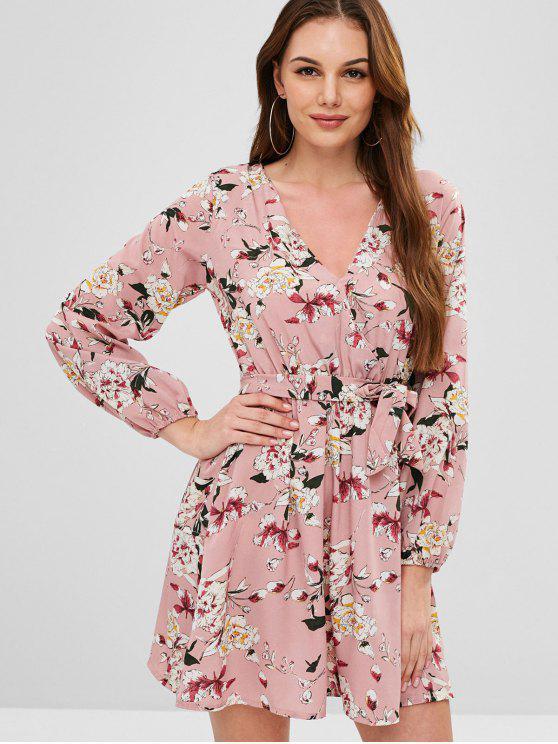 trendy Belted Floral Long Sleeve Dress - KHAKI ROSE L