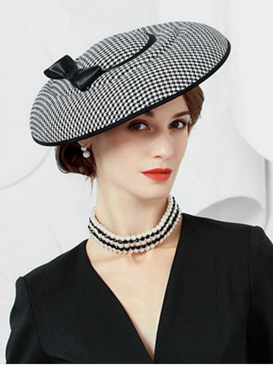 chic Elegant Houndstooth Bowknot Banquet Hat - BLACK