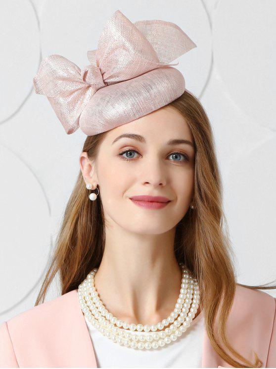 women Vintage Large Bowknot Tea Party Hat - LIGHT PINK