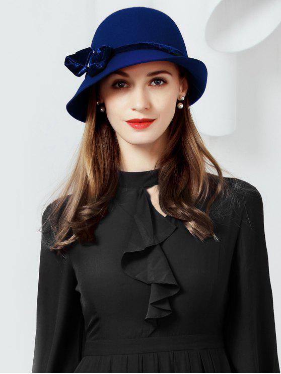 new Bowknot Wool Cloche Hat - DEEP BLUE