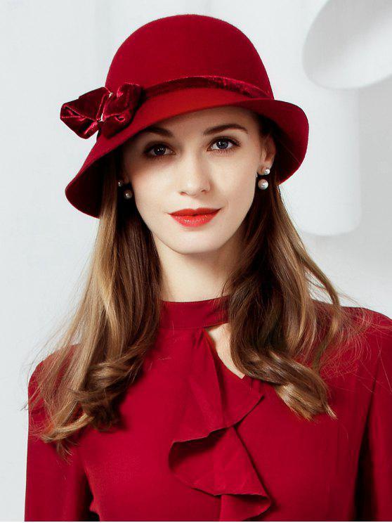 women's Bowknot Wool Cloche Hat - RED WINE