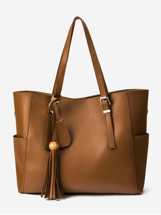 latest Large Capacity Tassel Shoulder Bag - LIGHT BROWN