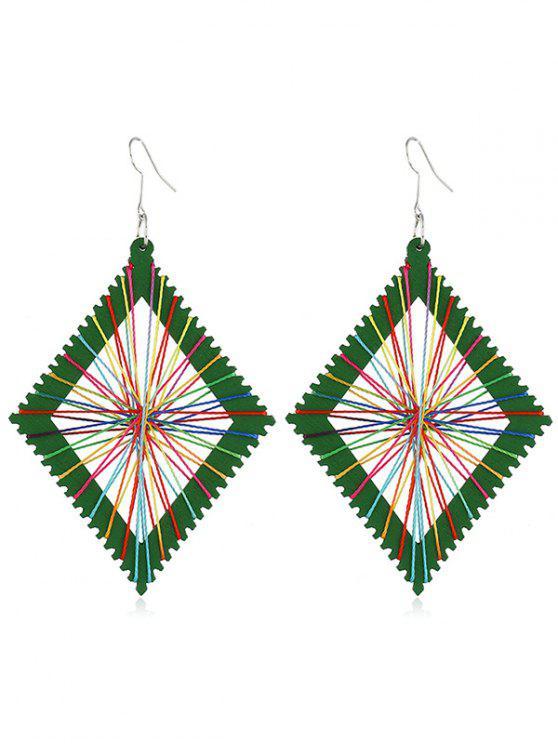 lady Geometric Knit Design Rectangular Earrings - GREEN