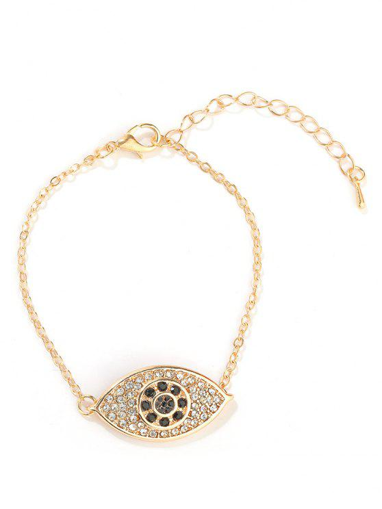 shops Eye Design Rhinestone Bracelet - GOLD