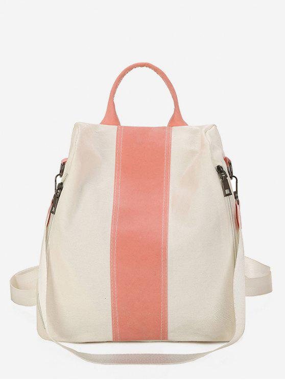fashion Canvas Color Splicing Design School Backpack - WHITE