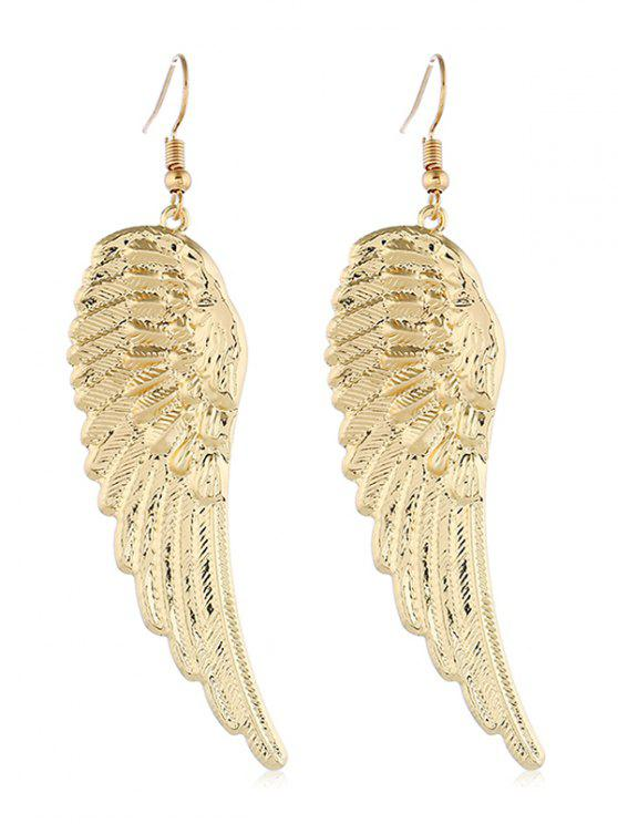 women Metal Wing Shape Hook Earrings - GOLD
